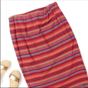 Vintage 80s 90s Striped Multicolor Wrap Skirt